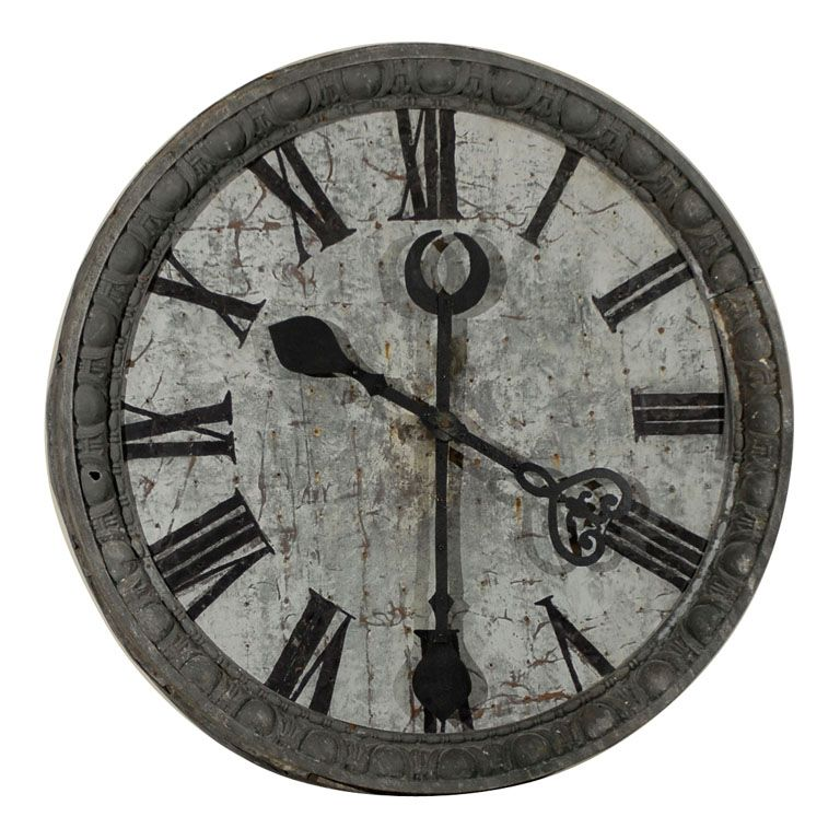 View This Item And Discover Similar Wall Clocks For Sale At   This Is An  Incredible French Clock. It Is Made Of Zinc, Wood, And Iron. The Zinc Frame