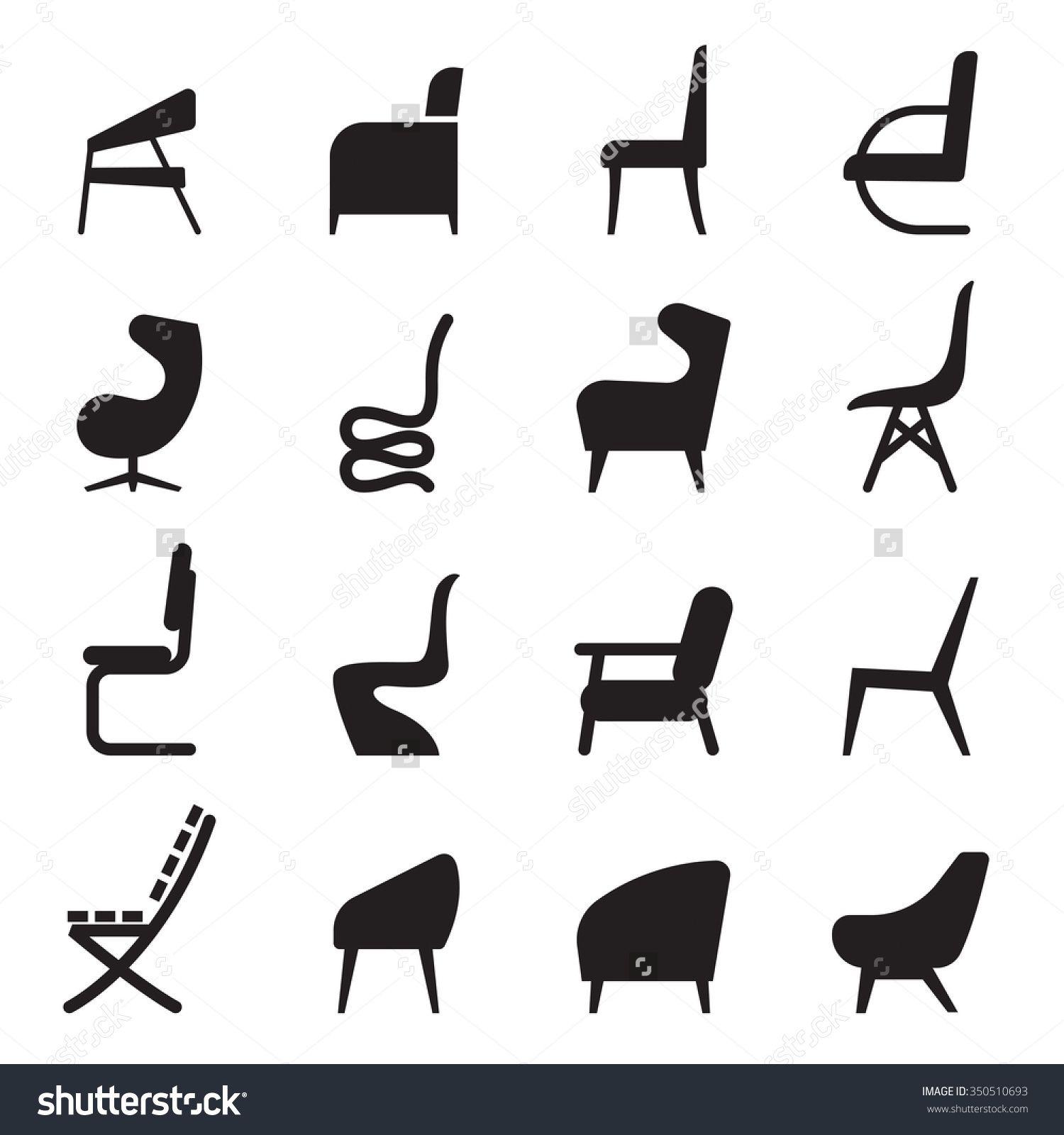 Bar Chair Stock Vectors Vector Clip Art Icon Set Icon Set Vector Illustration