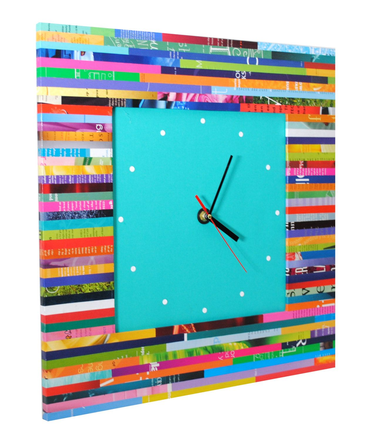 Large square wall clock made from recycled magazines unique