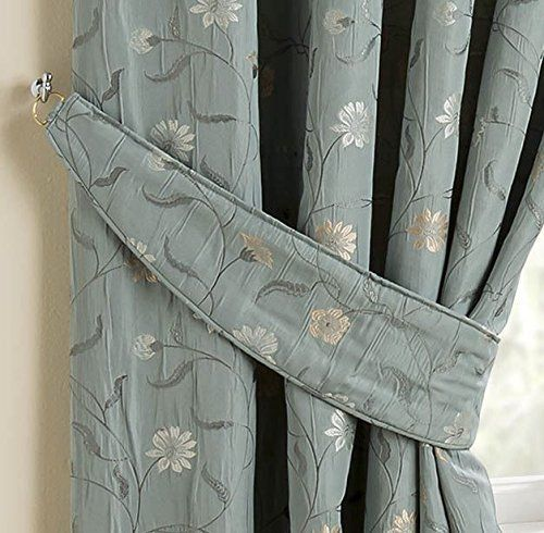 Homescapes Duck Egg Blue Jacquard Curtain Tie Backs Set Of