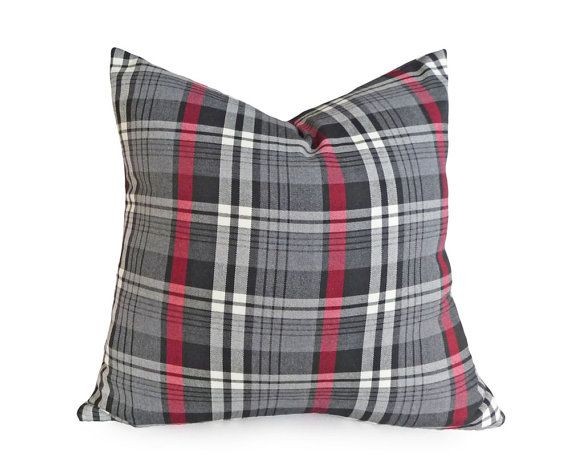 grey red black plaid pillows 18x18 throw pillow tartan plaid masculine decor