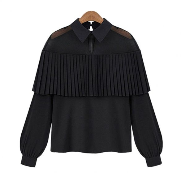32dc1a82911fa8 Women Fashion Sexy Sheer Mesh Patchwork Pleated Ruffle Long Sleeve Chiffon  Blouse $9.59 #apparels #blousesandshirts