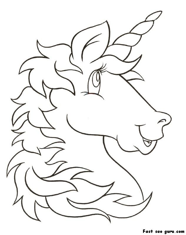 Print Out Unicorn Head Coloring Pages For Kids Unicorn Coloring