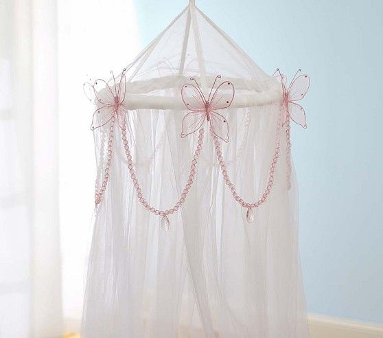 Glitter Butterfly u0026 Garland Tulle Canopy | Pottery Barn Kid would be cute in her reading : tulle canopy - memphite.com