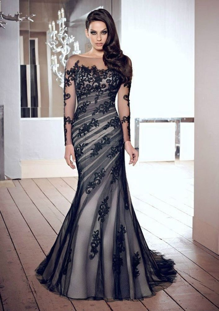 New Mermaid Long black Peacock Wedding Bridal Gowns Evening Pageant ...