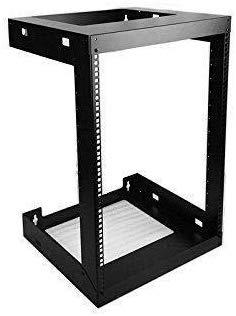 4U Adjust Depth 4UWall Mount Open Frame 19 Server Equipment Rack Threaded 12-18inch Depth Black