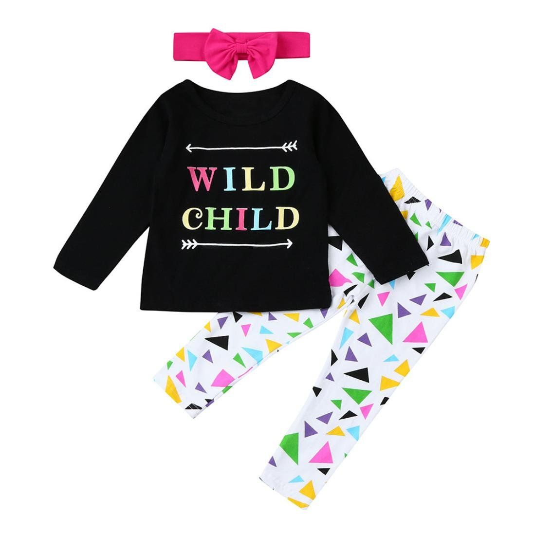 Toddler Baby Girls Kids Letter Print Tops Shirt Pants 3Pcs Set Outfits Clothes