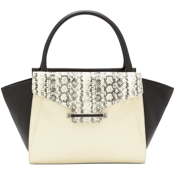 Vince Camuto Julia Satchel ($186) ❤ liked on Polyvore featuring bags, handbags, white leather purse, satchel handbags, vince camuto, white purse and white leather handbags