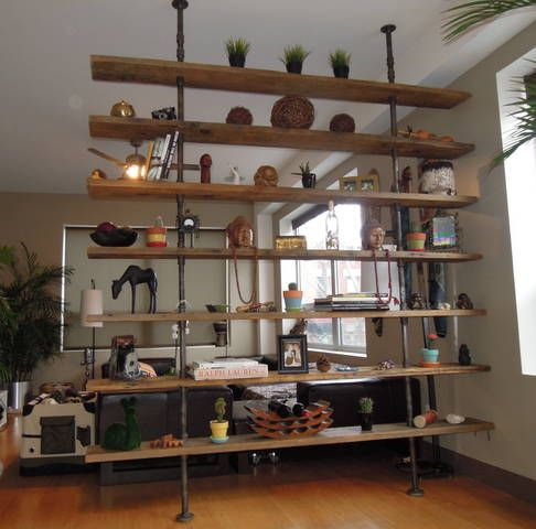 Bookshelf Room Divider book case pipes wood | bookcase made of steel gas piping and