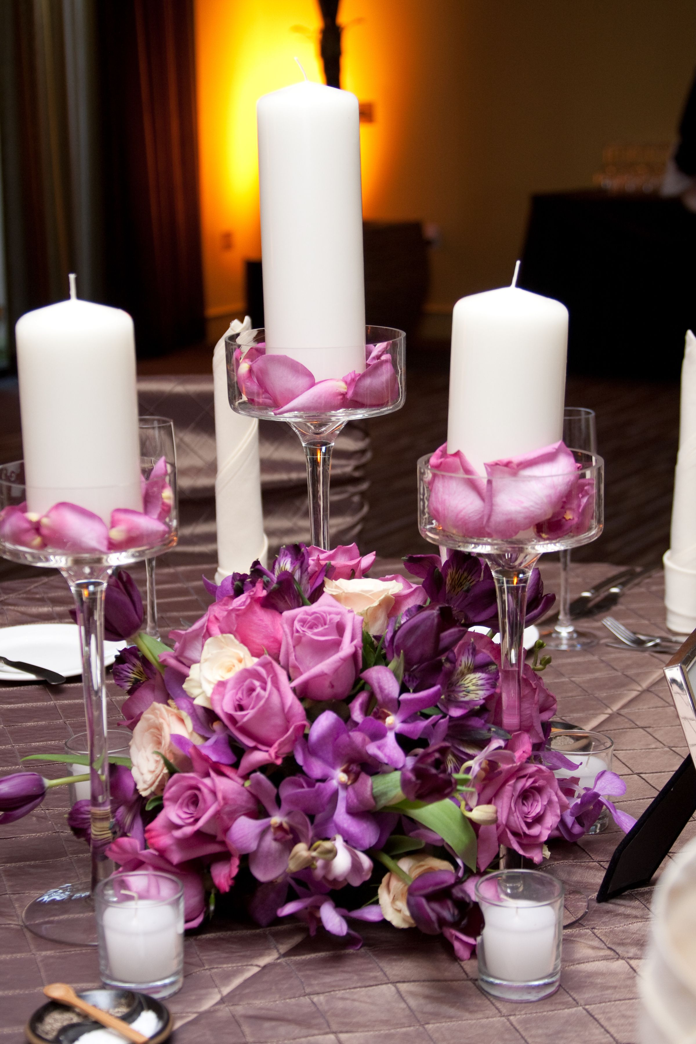 Purple Rose & Candle Wedding Centerpiece by Blume Events
