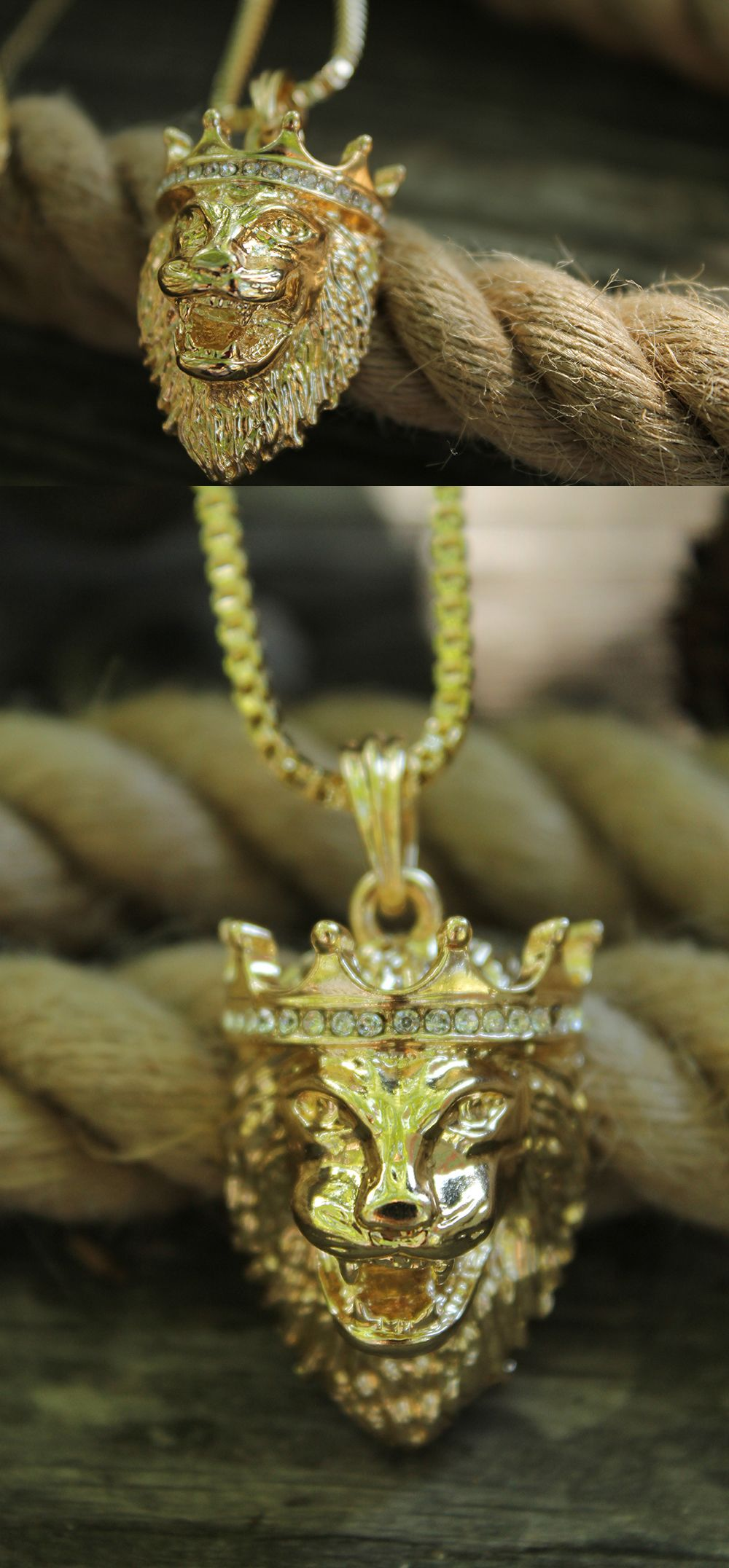 s steel chain matching picture tone gold mens p stainless of pendant lion w necklace head
