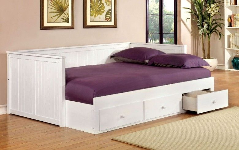 Wolford White Full Size Storage Daybed With Images Daybed With
