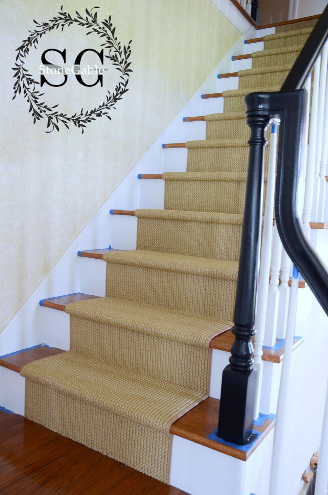 Magnificent White Banister Rails Wooden Materials And Black Wood Handle  Stairs As Well As Amazing Soft Grey Velvet Carpet For Stairs On Woods Foot  Ladders ...