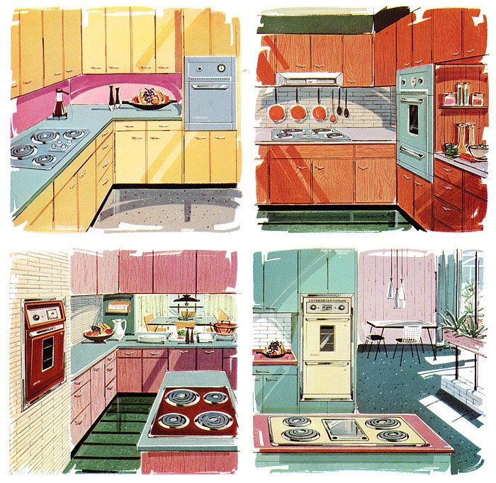 Mid-century kitchen colour schemes