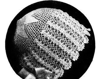 Lace crochet baby bonnet PDF pattern 1919 For a by KnittyDebby