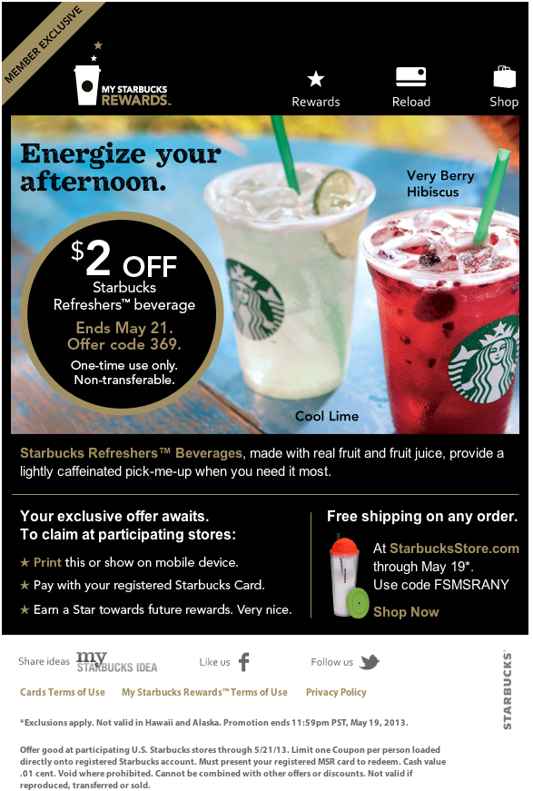 photo regarding Starbucks Printable Coupons called Starbucks: $2 off Refreshers Printable Coupon Couponing