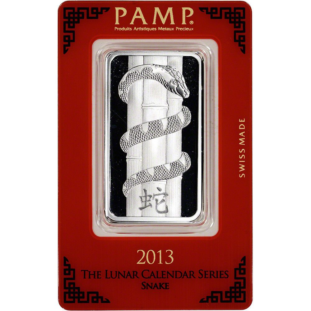 1 Oz Silver Bar Pamp Suisse Lunar Year Of The Snake 999 Fine In Assay Silver Bars Year Of The Snake Lunar Year