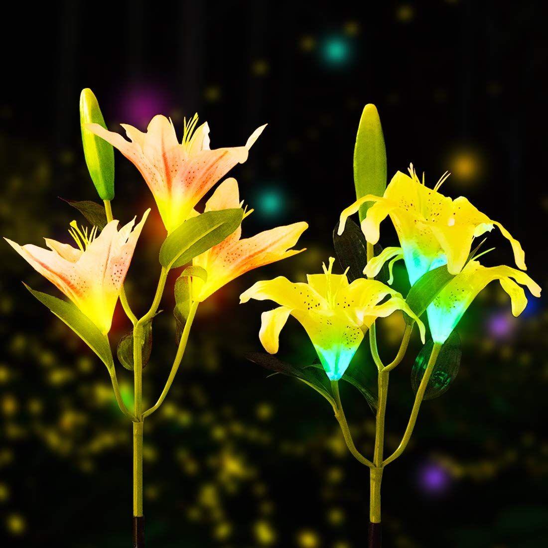 1//2pcs Solar Lily Flowers Garden Lights LED Outdoor Yard Decor Lamp Multi-Color