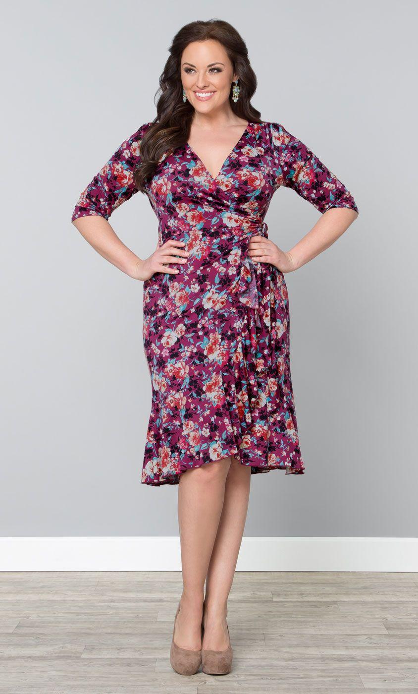 Flirty Flounce Wrap Dress At Kiyonna Plus Size Fl Dresses On The Curvy Fashionista