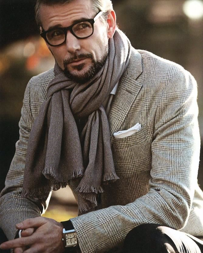04a11a4c2c2 I really like 1) The rimmed glasses. Shows our man has intelligence. 2) The  scarf styling 3) Playfulness in his face. Not taking himself too serious  all the ...