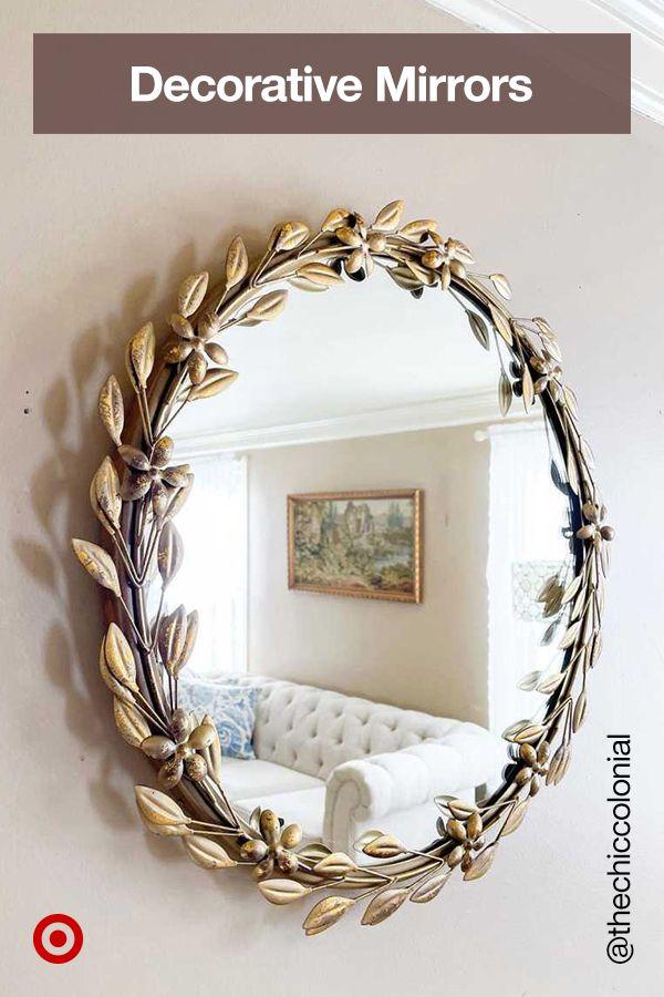 Decorative Round Leaf Wall Mirror Gold Opalhouse In 2021 Diy Mirror Wall Decor Mirror Wall Decor