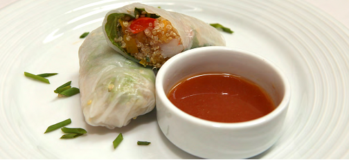 Confetti-Spring-Rolls-with-Orange-Cilantro-Sauce