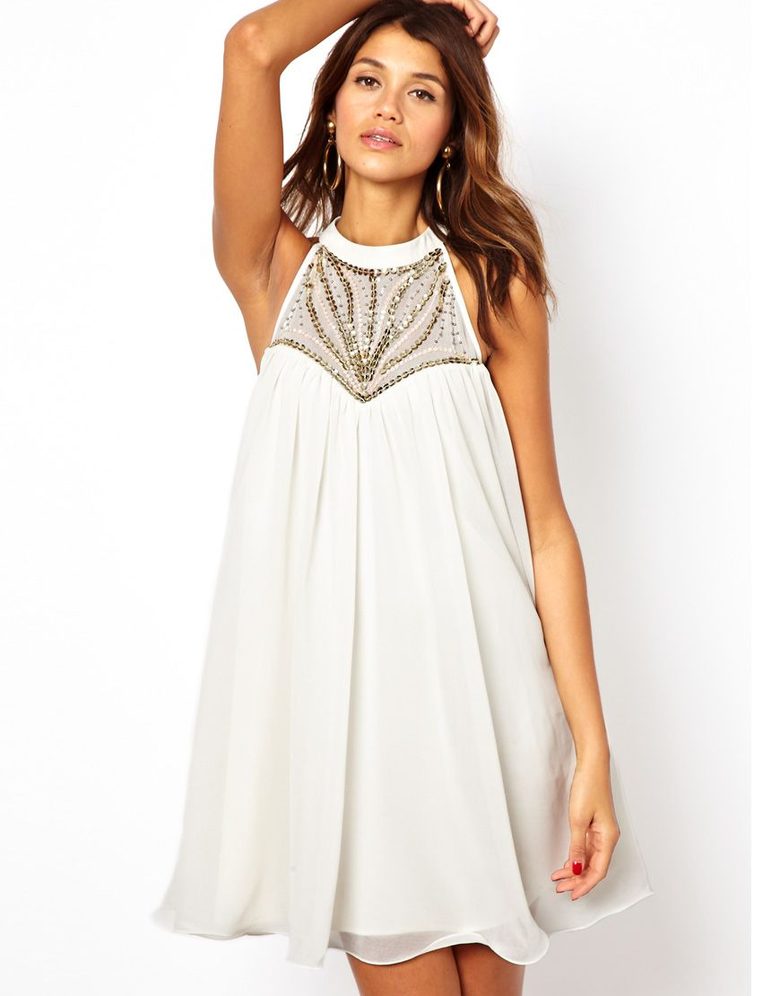 f87ca3100420d Lipsy | Lipsy Embellished High Neck Swing Dress at ASOS | House of ...