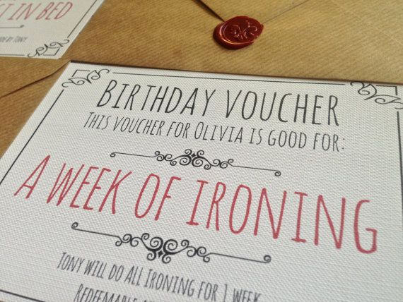 Personalised Birthday Vouchers Presented in wax stamped envelope - create a voucher