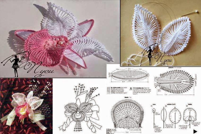 Flor orquídea tejida al crochet - con diagramas y patrones | Crochet ...