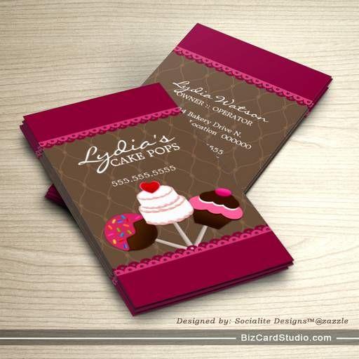 Cake pops bakery business cards bakery business cards pinterest cake pops bakery business cards reheart Choice Image