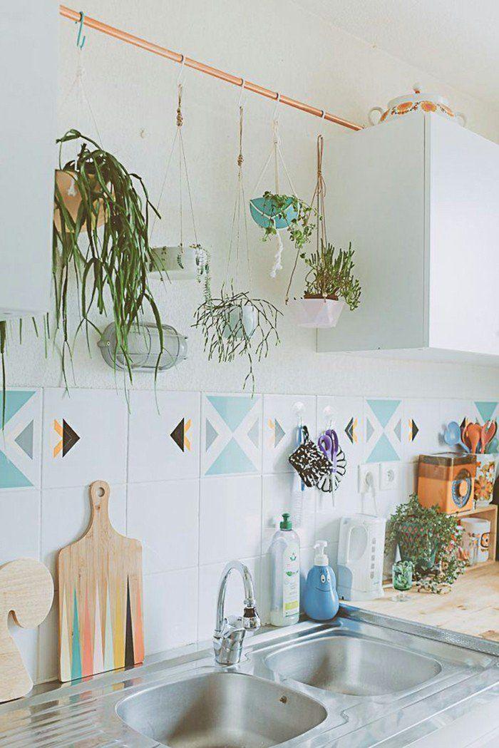 Schon Kücheneinrichtung Ausgefallene Hängende Pflanzen Farbige Wandfliesen