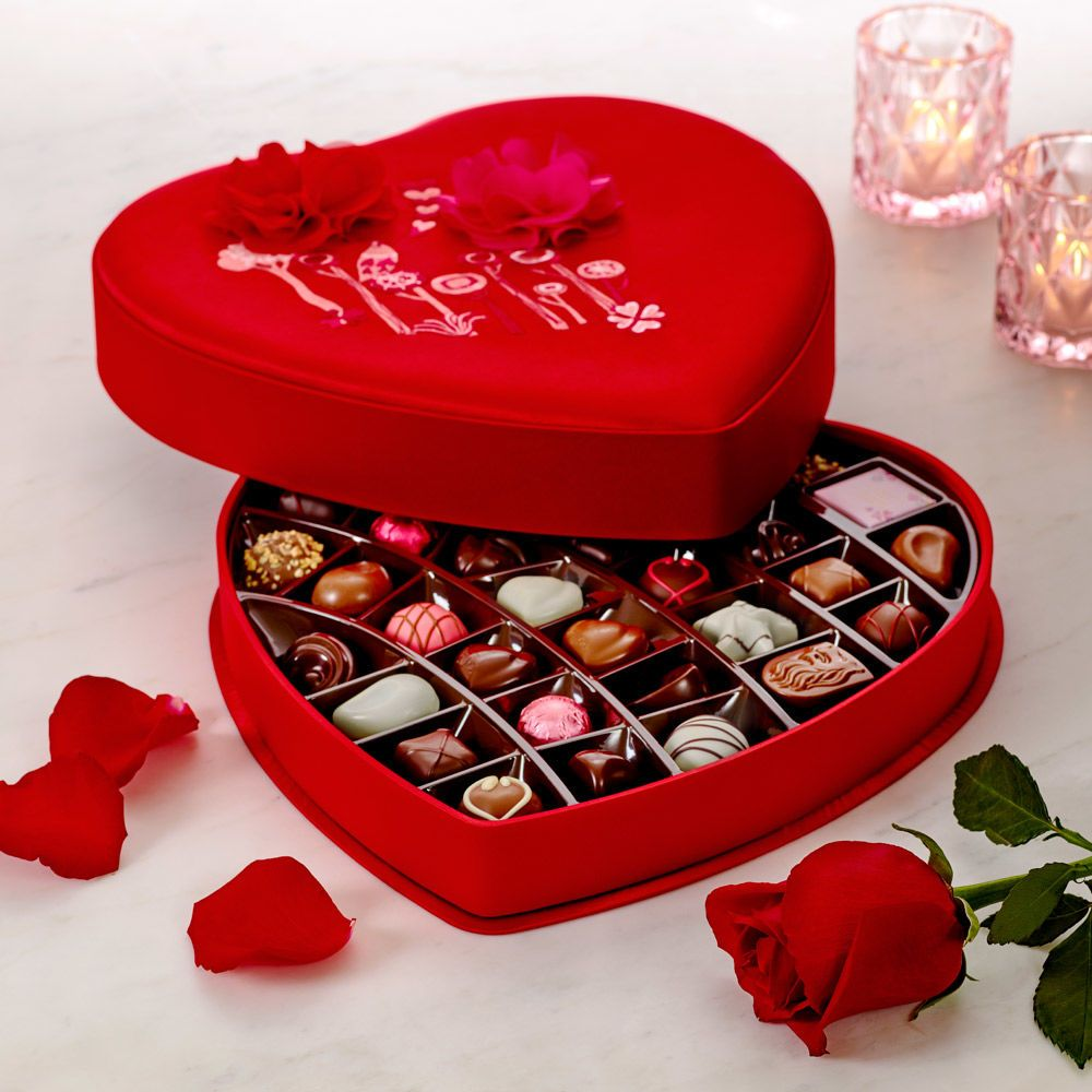 Valentine's Day Satin Embroidered Heart Chocolate Gift Box, 37 pc ...