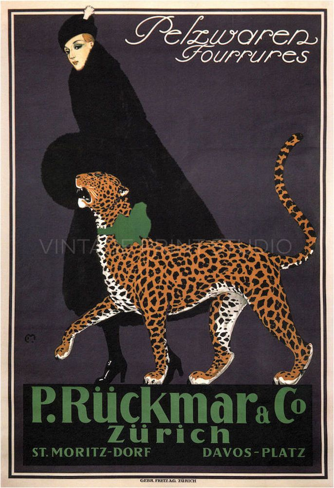 1910 Vintage Art Deco Advertising Giclee Canvas Print 24x34 Women with Cheetah