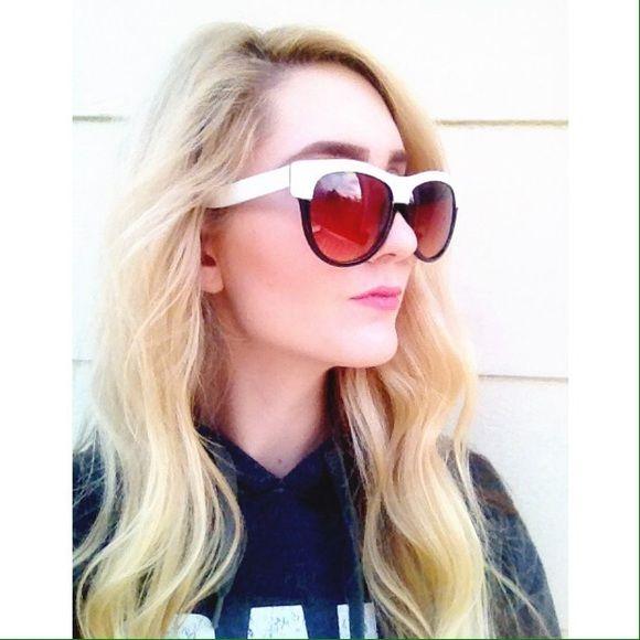 Black white two toned oversized vintage sunglasses