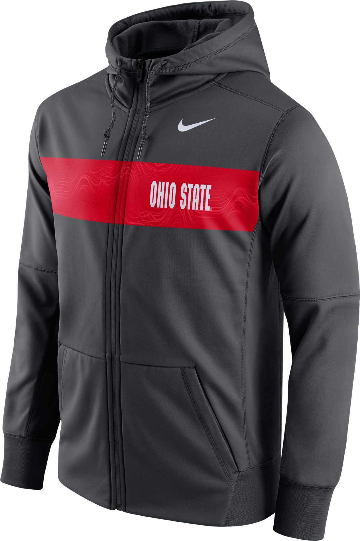 new style b1497 b06ac Nike Men s Ohio State Buckeyes Anthracite Therma-FIT Full-Zip Sideline  Hoodie, Team