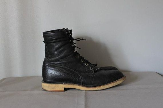 vintage Mens TRAIL RIDE leather boots size 12 by ScottieinaCanoe, $54.00