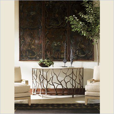 tommy bahama road to canberra bannister garden console table in moderately distressed 01 0542