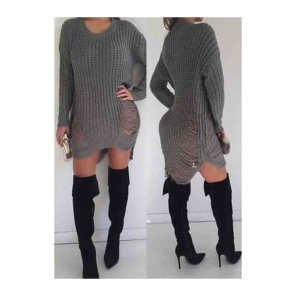 Rotita Grey Ripped Distressed Shredded Sweater Dress ($24 ...