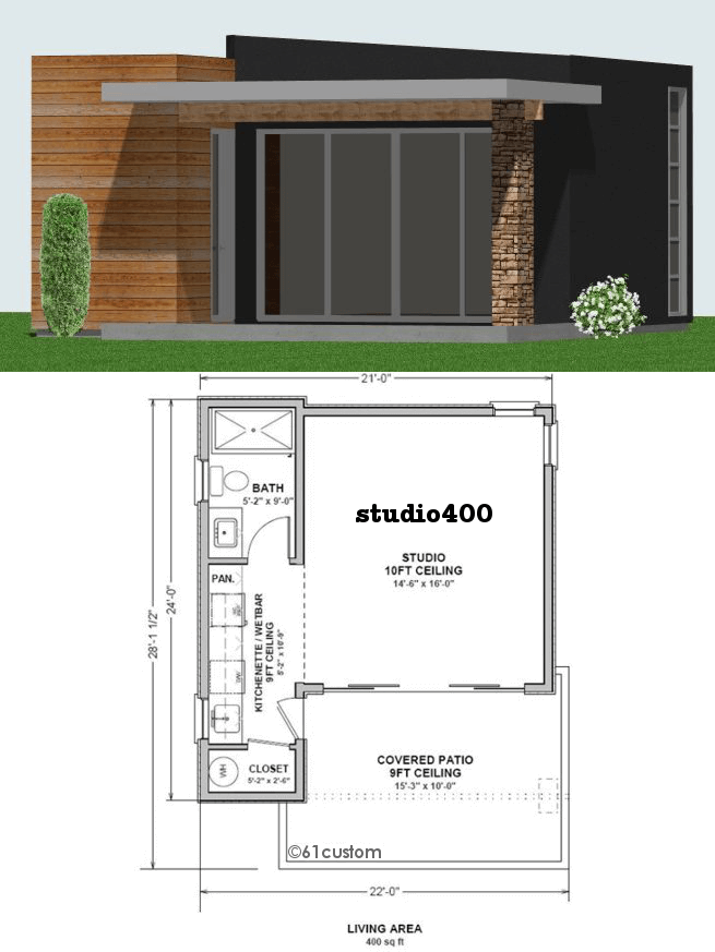 Studio400 Tiny Guest House Plan 61custom Contemporary Modern House Plans Guest House Plans Tiny Guest House Modern Contemporary House Plans