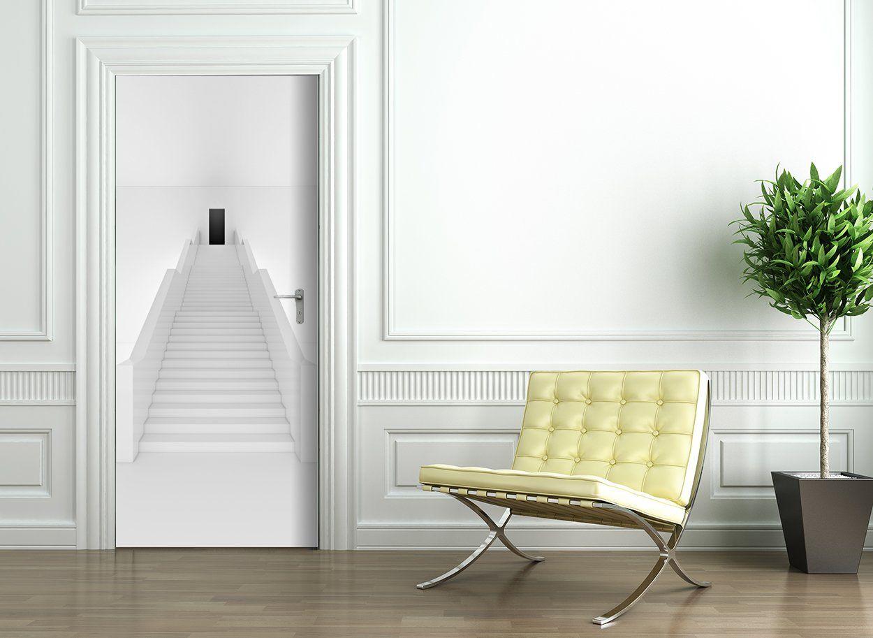 Door Wallpaper self adhesive WHITE STAIRS Amazon.co.uk