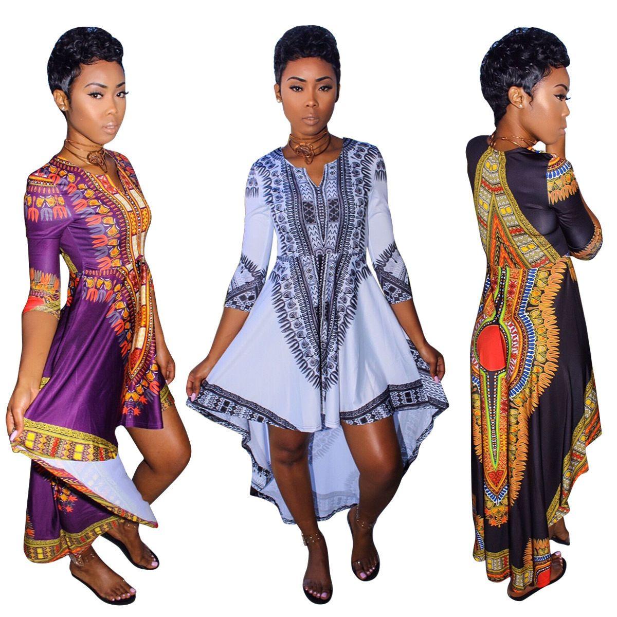 1414e97552 Women Girls Traditional African Print Dashiki Party Shirt Dress Plus ...