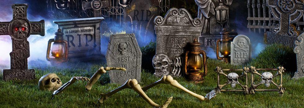 Halloween Skeletons  Skulls - Halloween Tombstones Asda Party - asda halloween decorations