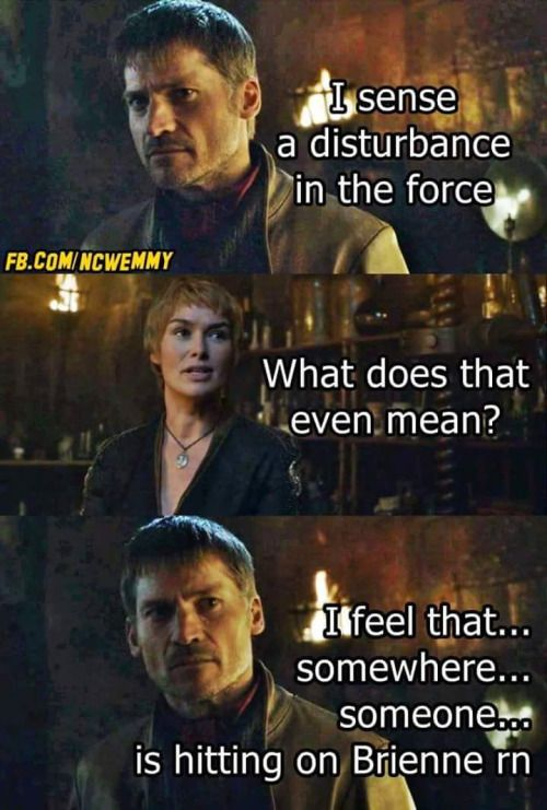Game of thrones funny meme humour. Brienne of Tarth, Tormund, Jaime Lannister