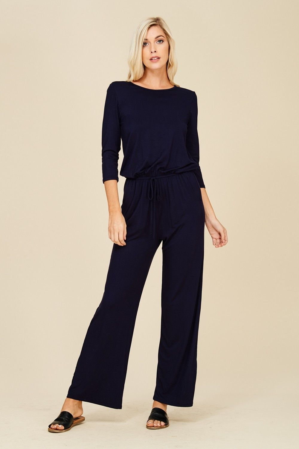 58c87e1e221 Jumpsuit with Elastic Waist Style  J8057 Knit jumpsuit featuring solid