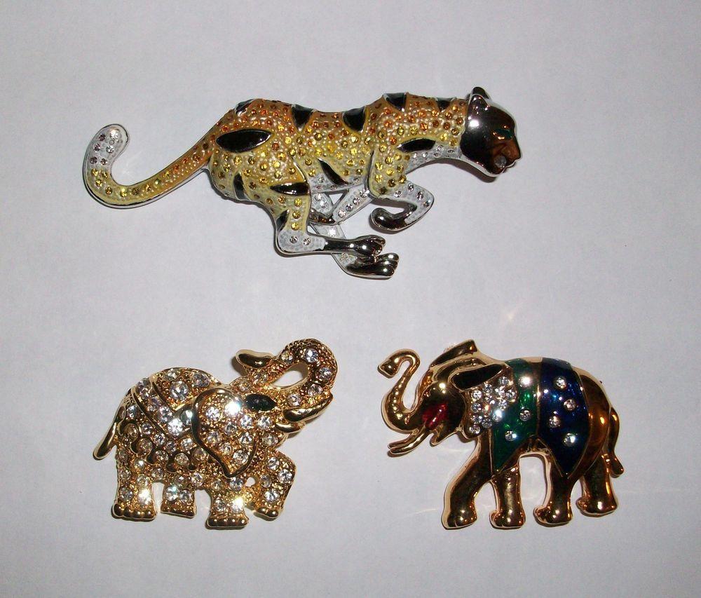Pins Brooches Rhinestone Tiger Rhinestone Elephant Enamel Rhinestone Elephant