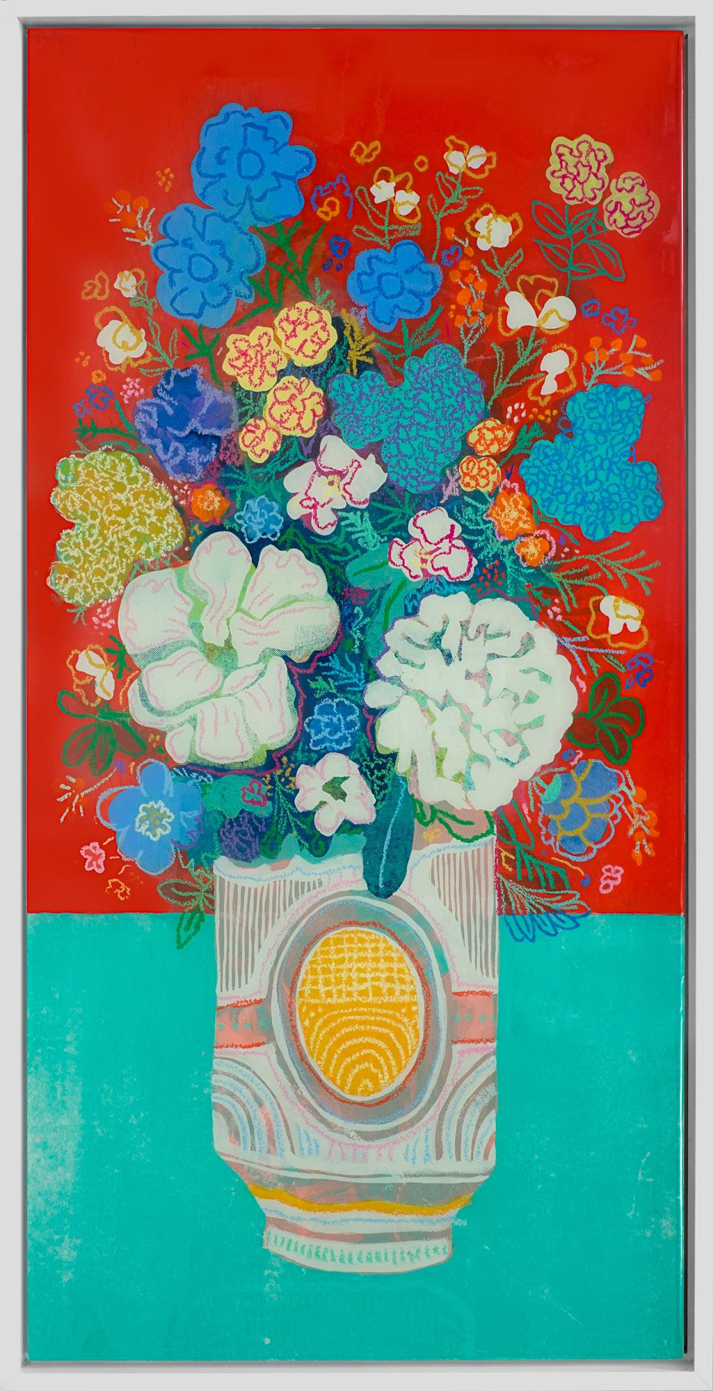 Bright Red Floral 50 X 26 Acrylic Serigraphy Sand