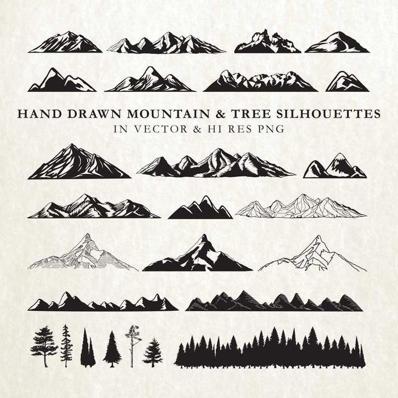 Hand Drawn Mountain Clipart Mountain Silhouette Nature Rustic Tree Clipart Clip Art Png Vector Eps Ai Design Element Instant Download Mountain Drawing Mountain Silhouette How To Draw Hands