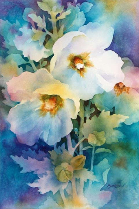 My Lovely White Flowers Watercolor Negative Painting Floral