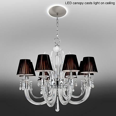 Derry Street Crystal 32 W Black Chandelier with LED Canopy & Derry Street Crystal 32