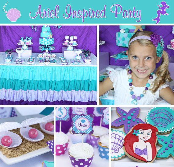 INSTANT DOWNLOAD diy Ariel Inspired Little mermaid Birthday Party PRINTABLE Food Labels purple teal favors treats  sc 1 st  Pinterest & Ariel Inspired Little mermaid Birthday Party PRINTABLE Food Labels ...